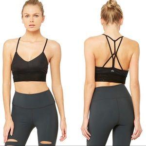 Alo Yoga Lavish Mesh Trim Sports Bra Glossy Black